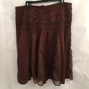 Bandolino Woman Brown Boho Peasant Skirt Size 16W